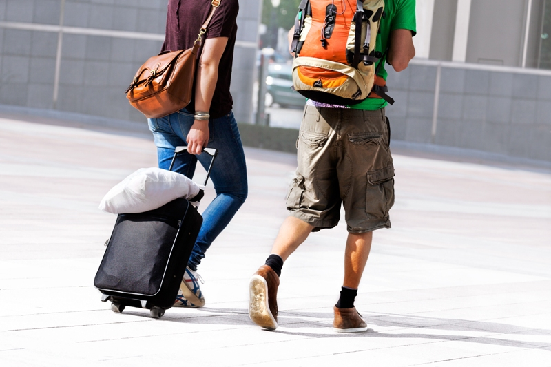 students with luggage